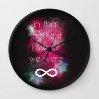 smiths Wall Clocks featuring we were infinite by Gabrielle Agius