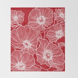 Holly Berry Red Poppies Drawing Throw Blanket