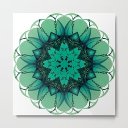 Blue Ornament Star Flower Metal Print