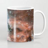 nasa Mugs featuring Bright nebula stars galaxy hipster geek cool space Nasa orange nebulae photograph by iGallery