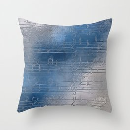 Silver music Throw Pillow