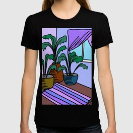 Three Potted Plants in the Corner - Lavender Blue T-shirt