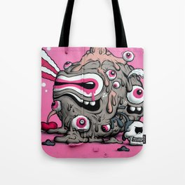 Urban Street Art: Pink Oozing Eye Creature (Buff Monster) Tote Bag