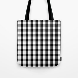Large Black White Gingham Checked Square Pattern Tote Bag