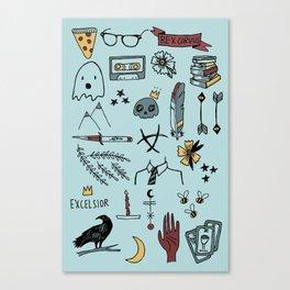 color raven doodles Canvas Print