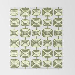 Mid Century Modern Atomic Rings Pattern Olive Green 3 Throw Blanket