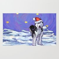 husky Area & Throw Rugs featuring Husky Christmas by Imagine That! Design