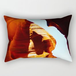 sandstone abstract with blue sky at Antelope Canyon, Arizona, USA Rectangular Pillow