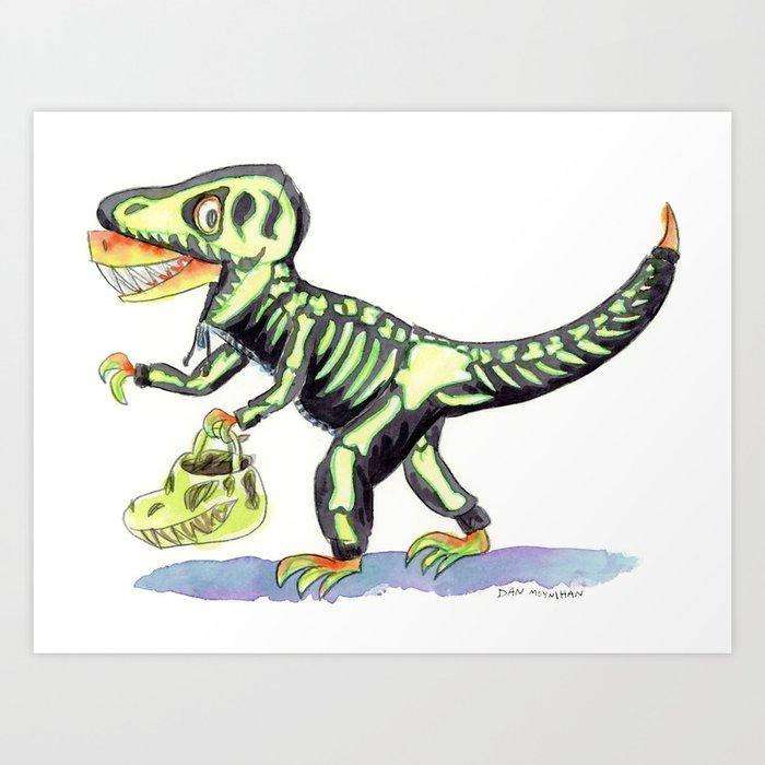 t rexs halloween art print