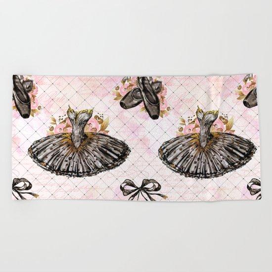 Black Tutu Ballerina Beach Towel