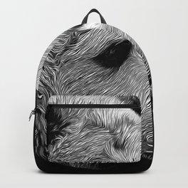 kodiak brown bear vector art black white Backpack