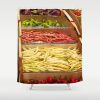 vegetables Shower Curtains featuring Vegetables by Toni-Ann Langella