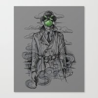 magritte Canvas Prints featuring Magritte Noir by Peter Kramar