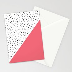Geometric grey and pink design Stationery Cards