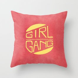 Girl Gang - Watercolour Illustration of Bold Block Text Throw Pillow