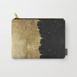 Faux Gold and Black Starry Night Brushstrokes Carry-All Pouch