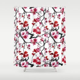 Vintage seamless pattern with watercolor flowers Shower Curtain
