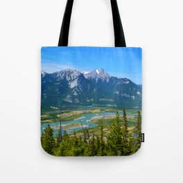 Overlooking the Athabasca River from the Morrow Peak Hike in Jasper National Park, Canada Tote Bag