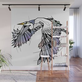 Heron Geometric Bird Wall Mural
