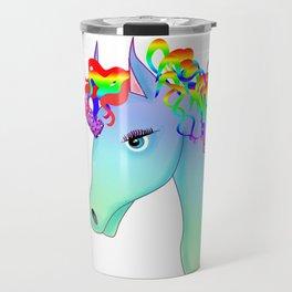 colorful head of unicorn Travel Mug