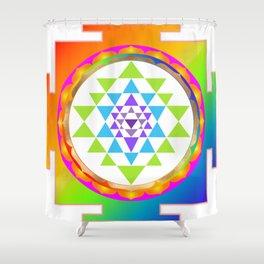 Sri Yantra, Chakra Colors, Faux Gold Accent Shower Curtain