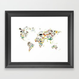 Cartoon animal world map for children and kids, Animals from all over the world on white background Framed Art Print