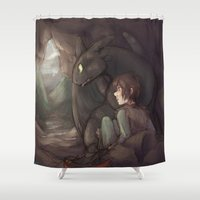 hiccup Shower Curtains featuring Thunderstorm by Renon Vesir