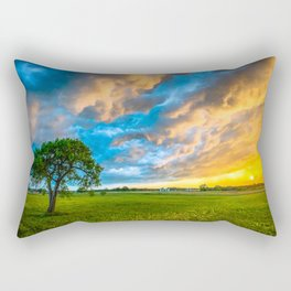 Fire and Ice - Lone Tree Under Colorful Storm Clouds at Sunset in Texas Rectangular Pillow