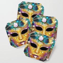 Golden Carnival Mask Coaster