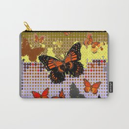 Abstracted Black & Orange Monarch Butterflies Grey Art Carry-All Pouch