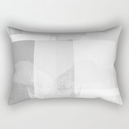 "Grey and White Minimalist Geometric Abstract ""Building Blocks"" Rectangular Pillow"