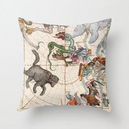 Vintage Star Atlas - Constellation Map Throw Pillow
