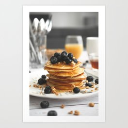 Blueberry Breakfast Pancakes Art Print
