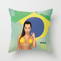 brazil Throw Pillows featuring Brazil by Kingdom Of Calm - Print On Demand