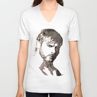 charlie brown V-neck T-shirts featuring Charlie Watercolour by Sophie Brown Art