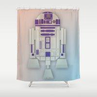 starwars Shower Curtains featuring StarWars R2D2 by Joshua A. Biron