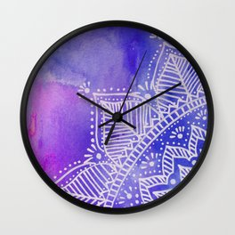 Mandala flower on watercolor background - purple and blue Wall Clock