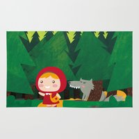 red hood Area & Throw Rugs featuring Little Red Riding Hood by parisian samurai studio