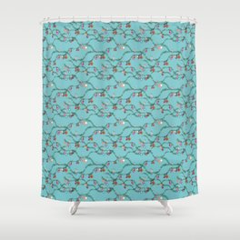 Holiday cheer soft blue Shower Curtain