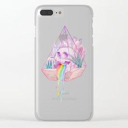 Rainbow Skull Succulent Crystal Garden Clear iPhone Case