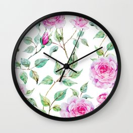 Roses Pink and White Shabby Chic Floral Wall Clock