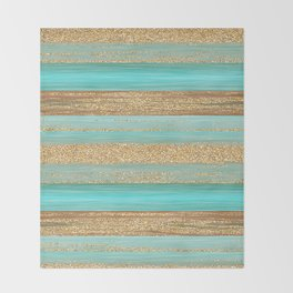 Turquoise Brown Faux Gold Glitter Stripes Pattern Throw Blanket