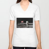 british flag V-neck T-shirts featuring British Flag on the Moon by Dan Levin's Objects of Curiosity