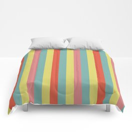 Vertical tropical paradise stripes sunny turquoise lines Comforters
