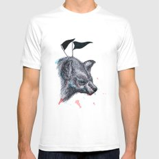 Wolf?Hyena? SMALL White Mens Fitted Tee