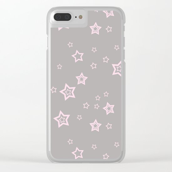 Pink little stars on grey on #Society6 Clear iPhone Case