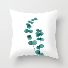 green eucalyptus watercolor Throw Pillow