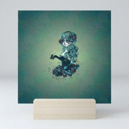 Sugar skull girl in blue Mini Art Print
