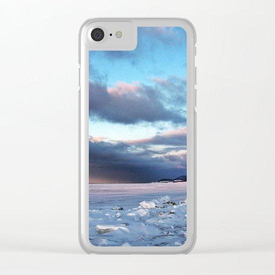 Storm Cloud Across Frozen Bay Clear iPhone Case