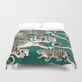Snow leopard in green Duvet Cover